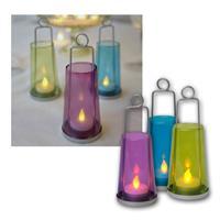 """3er LED-Windlichterset """"Lanterna"""", flackernd, Glas"""