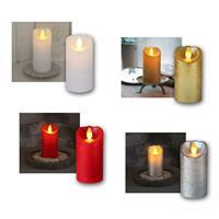 LED-Wachskerze GLOW FLAME | Timer | 5,5x10cm | 4 Farben