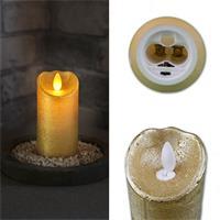 LED-Kerze mit Echtwachsmantel in weiß, silber, gold oder rot