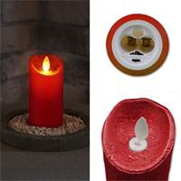LED-Kerze mit Echtwachsmantel in silber, gold oder rot