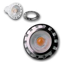 LED Strahler dimmbar GU10 mit einer hellen COB LED und einer silbernen Aufsteckblende