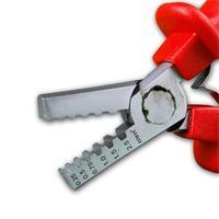 Presszange für eine sichere Verbindung von Hülse und Leiter