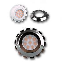 LED Strahler dimmbar GU10 mit COB LEDs und einer silbernen Aufsteckblende