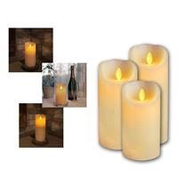 LED wax candle TWINKLE FLAME | 15/17,5/20cm | timer | ivory