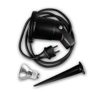 Außenleuchte schwarz IP44, GU10 230V mit Haltebügel und Erdspieß