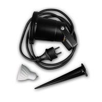 Gartenleuchte schwarz IP44, GU10 230V mit Haltebügel und Erdspieß