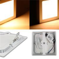Warmweiß leuchtende LED Panels in runder oder eckiger Bauform