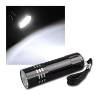 Mini torch with 9 LED, strap, anodized aluminum fr