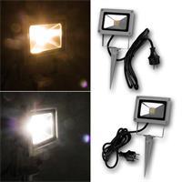 Warmweiß oder tageslichtweißer LED Fluter mit Erdspieß