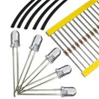 Leuchtdioden 5mm LEDs gelb komplett mit Widerständen und Schrumpfschlauch
