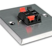 Anschlussdose Edelstahl für Unterputzdose mit 4 Lautsprecher-Klemmen