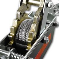 Seilzug mit Ratsche mit Klinkenrad und Sperre aus drei einzelnen Stahlplatten