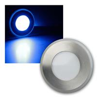 LED floor light | 12V DC/1W | blue | stainless steel | IP20