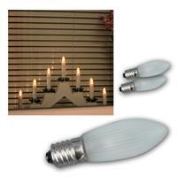LED E10 Topkerzen Leuchtmittel geriffelt 3er Pack