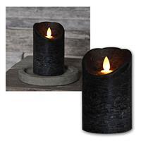 LED Echtwachskerze mit flackernder Flamme Schwarz