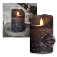 Die LED-Kerze mit Echtwachsmantel ist in elfenbein, rot, weiß, grau oder schwarz erhältlich