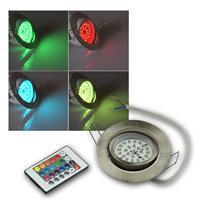 LED Einbaustrahler | Flat-30 | RGB | Edelstahl | Remote