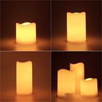 LED-Außenkerze in weiß oder elfenbein leuchtet amber