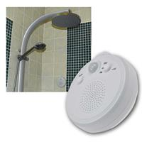 Shower radio with PIR sensor, suction cup, battery