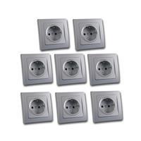 DELPHI protective contact sockets, set of 8, silve