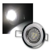 5er Set 3W kw LED Power Einbauleuchten Chrom starr