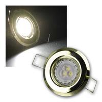 MR11 LED Einbauspot Messing kaltweiß | 3er Komplett-Set