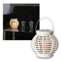 Solar Laterne weiß | mit LED Kerze | Weidenoptik