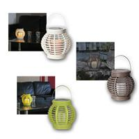 Lantern with LED candle | wicker design | white/green/gray