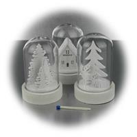 Kleine Lichtkuppeln mit winterlichen Motiven und Batteriebetrieb