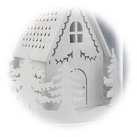 Kleines Dekohaus unter Echtglas mit filigranen Verzierungen