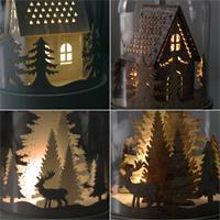 LED Dekoration Kupol mit beleuchtetem Motvi Haus/Reentiere  weiß/braun