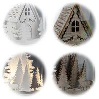 LED Dekoration Kupol in braun oder weiß mit  Motiv Haus/Reentiere  weiß/braun