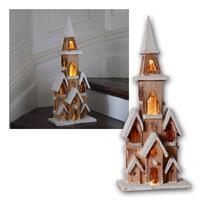 LED Weihnachtshaus natur | mit Timer | Batteriebetrieb