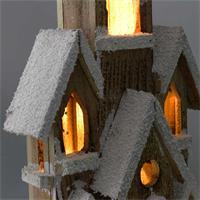 Beleuchtetes Weihnachtshaus aus Holz in 2 Farben
