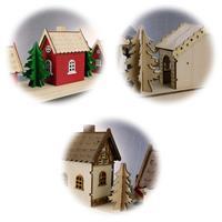 Aus Holz gefertigte LED Weihnachtshäuser mit Timer