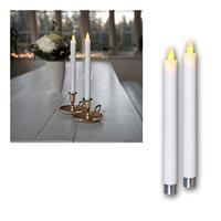 LED Stabkerze Glim, weiß | 2er Set | Batterie & Timer