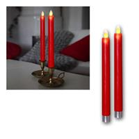 LED candle glim, red | Set of 2 | Battery & Timer