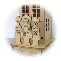 LED Dekohaus mit filigraner Holzarbeit mit liebevollen Details