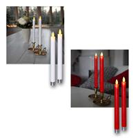 LED candle GLIM, set of 2 | white/red | wax coated | 24cm