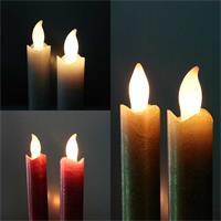 2er Set LED Stabkerzen Presse in rot, weiß oder gold