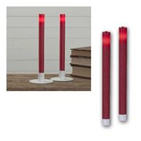 LED Stabkerzen Wave | rot, 2er Set | Batterie & Timer