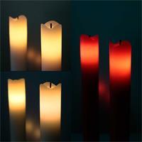 2er Set LED Stabkerzen in rot, weiß oder creme