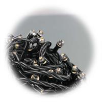SMD LEDs im Abstand von 10cm auf schwarzem Kabel