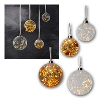LED glass ball GLOW | Ø11/15cm | clear/orange | battery/230V