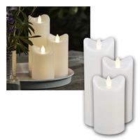 LED candle BIANCO | Set of 3, 12/15 /20cm | with timer, IP44