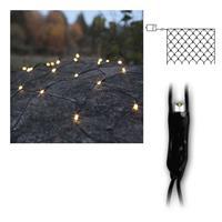LED Lichternetz außen | Batterie/Timer, schwarz | warmweiß