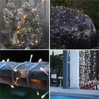 Warmweiße LEDs als Kette, Netz, Vorhang oder Eisregen