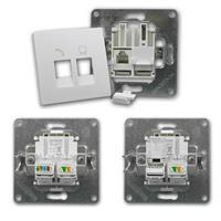 FLAIR Netzwerkdose weiß, 250V~/10A, UP, RJ45/RJ11