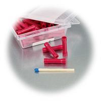 Verbinder für zwei Kabel mit roter Kunststoffummantelung