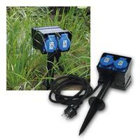Gartensteckdose, 4-fach | 2m Zuleitung | 250V/16A IP44